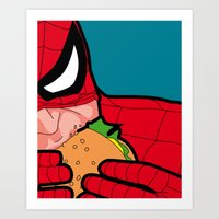 the secret life of heroes Art Prints featuring The secret life of heroes - Spiderfood by Greg Guillemin