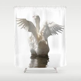 White Duck Flapping Wings on Water Vector Shower Curtain