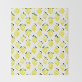 Sicilian lemons || watercolor Throw Blanket