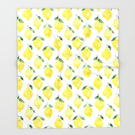 Sicilian lemons || watercolor Throw Blanket
