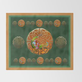 Peacock Celtic Deco Throw Blanket