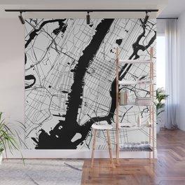 New York City White on Black Wall Mural