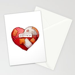 Heart with patches. Valentines day illustration. Stationery Cards