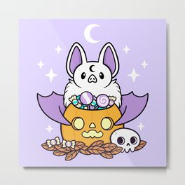 Pumpkin Bat Metal Print
