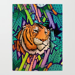Tiger in the undergrowth Poster