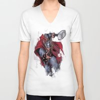 thor V-neck T-shirts featuring Thor by Isaak_Rodriguez