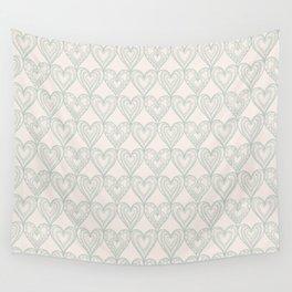 Elegant ivory pastel green lace romantic heart pattern Wall Tapestry