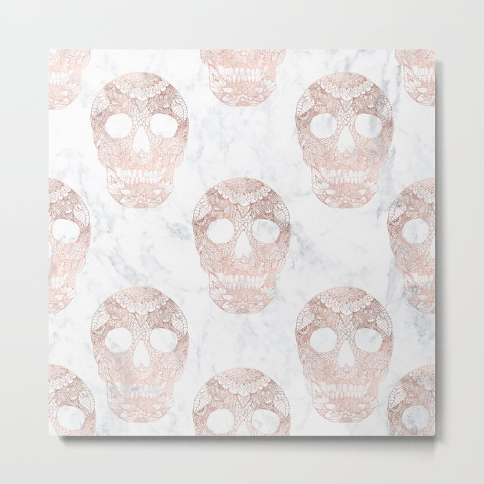 Modern hand drawn floral lace rose gold skulls on white marble Metal Print