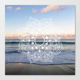 Flower shell mandala - shoreline Canvas Print