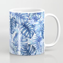 Blue tropical pattern  (monstera leaves and bird of paradise flowers Coffee Mug
