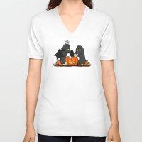 pumpkin V-neck T-shirts featuring pumpkin by omelet