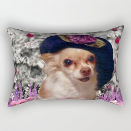 Chi Chi in Purple, Red, Pink, White Flowers, Chihuahua Puppy Dog Rectangular Pillow