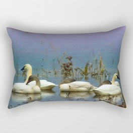 Tundra Swans against a blue and purple background. Rectangular Pillow