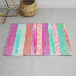 Tropical Stripes - Pink, Aqua And Peach Colorway Rug