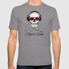 Music to Death LARGE Mens Fitted Tee Tri-Grey