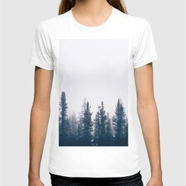 Minimalist Landscape Photo Pine Tree Silhouette Misty Forest T-shirt