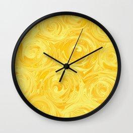Honey Yellow Roses Abstract Wall Clock