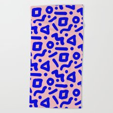 Doodle Pattern - Pink and Electric Blue Beach Towel
