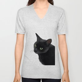 Black cat in the dark Unisex V-Neck