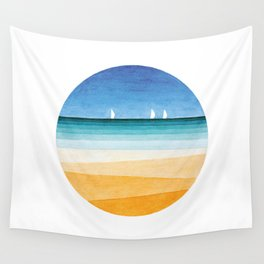 Yachts sea beach watercolor geometric Wall Tapestry