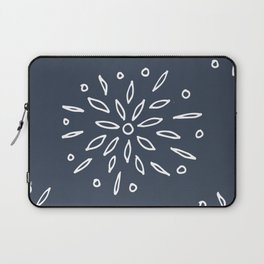 Starry Floral Pattern on Blue Laptop Sleeve