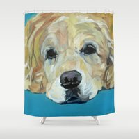 golden retriever Shower Curtains featuring Shiner the Golden Retriever by Barking Dog Creations Studio