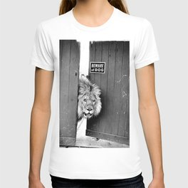 Beware of Dog black and white photograph of attack lion humorous black and white photography T-shirt