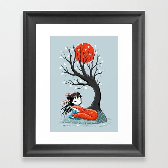 Girl and a Fox 2 Framed Art Print
