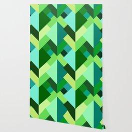 Modern Abstract Triangles, Emerald Green and Aqua Wallpaper