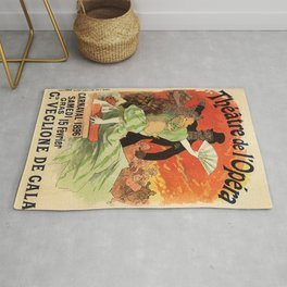 Th Tre De L Op Ra Carnaval 1896 Grand Veglione De Gala 1896 By Jules Cheret | Reproduction Art Nouve Rug
