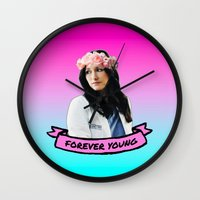 forever young Wall Clocks featuring Forever Young by drmedusagrey