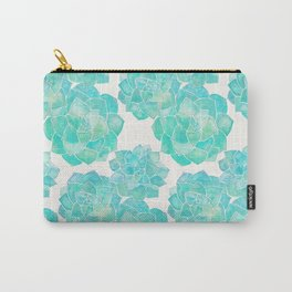 Rosette Succulents – Turquoise Palette Carry-All Pouch