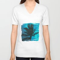 swimming V-neck T-shirts featuring Swimming Palm by Catspaws
