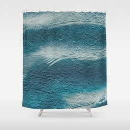 Blue silver waves on metal grunge look Shower Curtain