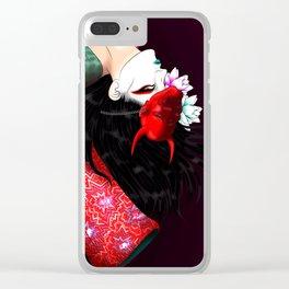 Geisha with Hannya Mask Clear iPhone Case