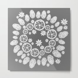 White Christmas wreath Metal Print