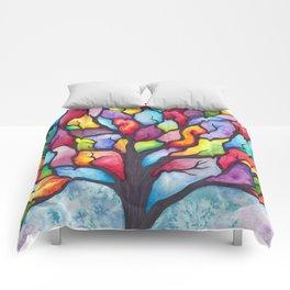 Watercolor Mosaic Tree Comforters