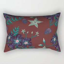 Illustration digital art purple flower pattern with skull red  background Rectangular Pillow