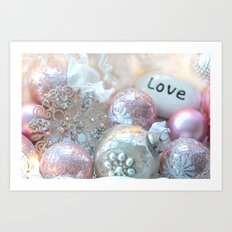Romantic Shabby Chic Holiday Christmas Ornaments Love Print and Home Decor Art Print