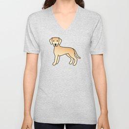 Yellow Labrador Retriever Dog Cute Cartoon Illustration Unisex V-Neck