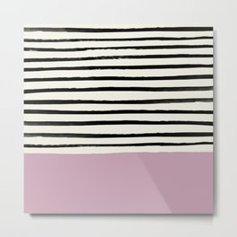 Dusty Rose & Stripes Metal Print