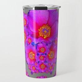 Modern Art Fuchsia Purple-Blue  Rose Flowers Grey Pattern Travel Mug