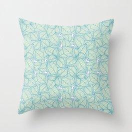 Hydrangea Leaves Illustration Pattern Throw Pillow