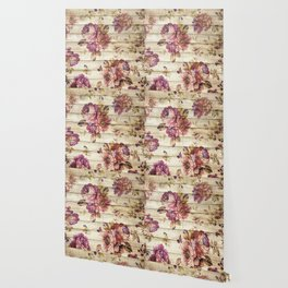 Rustic Vintage Country Floral Wood Romantic Wallpaper