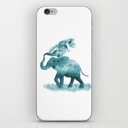 Turquoise Smoky Clouded Elephant iPhone Skin