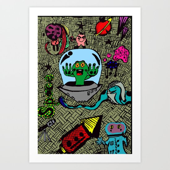 Aliens in Space Art Print