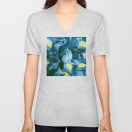 Aqua & Teal Blue Iris Flowers Macro Photo Unisex V-Neck