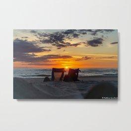 Sunset North Sea Camping Chairs Denmark Bjerregard Beach 9 Metal Print