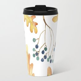 Autumn Leaves, Acorns, Blueberries Travel Mug
