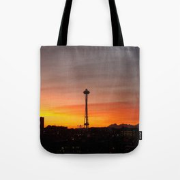Space needle Sunset Tote Bag